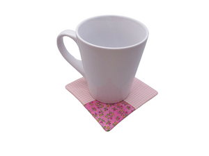 Criss Cross Coasters - Gingham Hearts Pink - Beachside Knits N Quilts