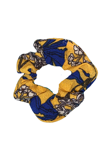 Yellow Floral Hair Scrunchies - Small