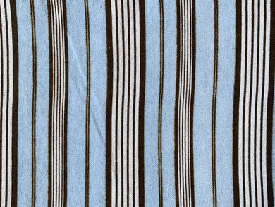 Blue Brown Striped Cotton Flannel - Beachside Knits N Quilts