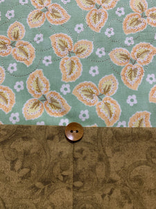 Table Runner or Dresser Scarf - Fall Floral Peach Green - Beachside Knits N Quilts
