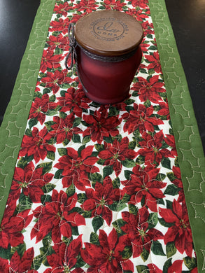 Quilted Table Runner or Dresser Scarf - Christmas Poinsettia