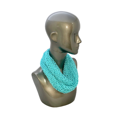 Lacy Open Knit Infinity Scarf - Cornflower Blue