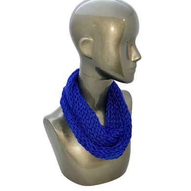 Lacy Open Knit Infinity Scarf - Royal Blue