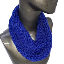 Load image into Gallery viewer, Drop Stitch Open Knit Infinity Scarf - Royal Blue