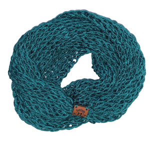 Drop Stitch Open Knit Infinity Scarf - Tidepool Dark Teal - Beachside Knits N Quilts