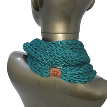Load image into Gallery viewer, Drop Stitch Open Knit Infinity Scarf - Tidepool Dark Teal - Beachside Knits N Quilts