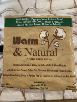 Batting Warm & Natural Cotton Craft Size 34 in x 45 in - Beachside Knits N Quilts