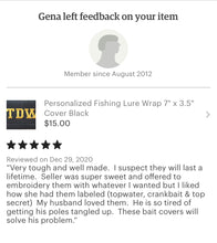 "Load image into Gallery viewer, Top Water Fishing Lure Wrap 10"" x 3.5"" Cover Black - Beachside Knits N Quilts"