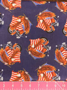 Cotton Fabric - Patriotic Americana - Flag Biker Eagles