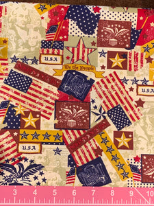Cotton Fabric - Patriotic Americana - Flag Patches - Fat Quarter - Beachside Knits N Quilts