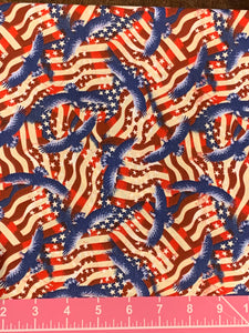 Cotton Fabric - Patriotic Americana - Flags & Eagles - Beachside Knits N Quilts