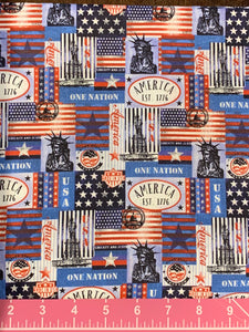 Cotton Fabric - Patriotic Americana - One Nation - Fat Quarter - Beachside Knits N Quilts