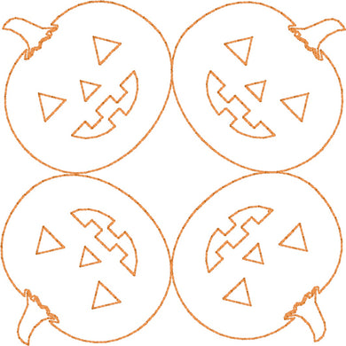 Jack O Lanterns - Machine Embroidery Quilting Design - 4x4 Hoop - Beachside Knits N Quilts