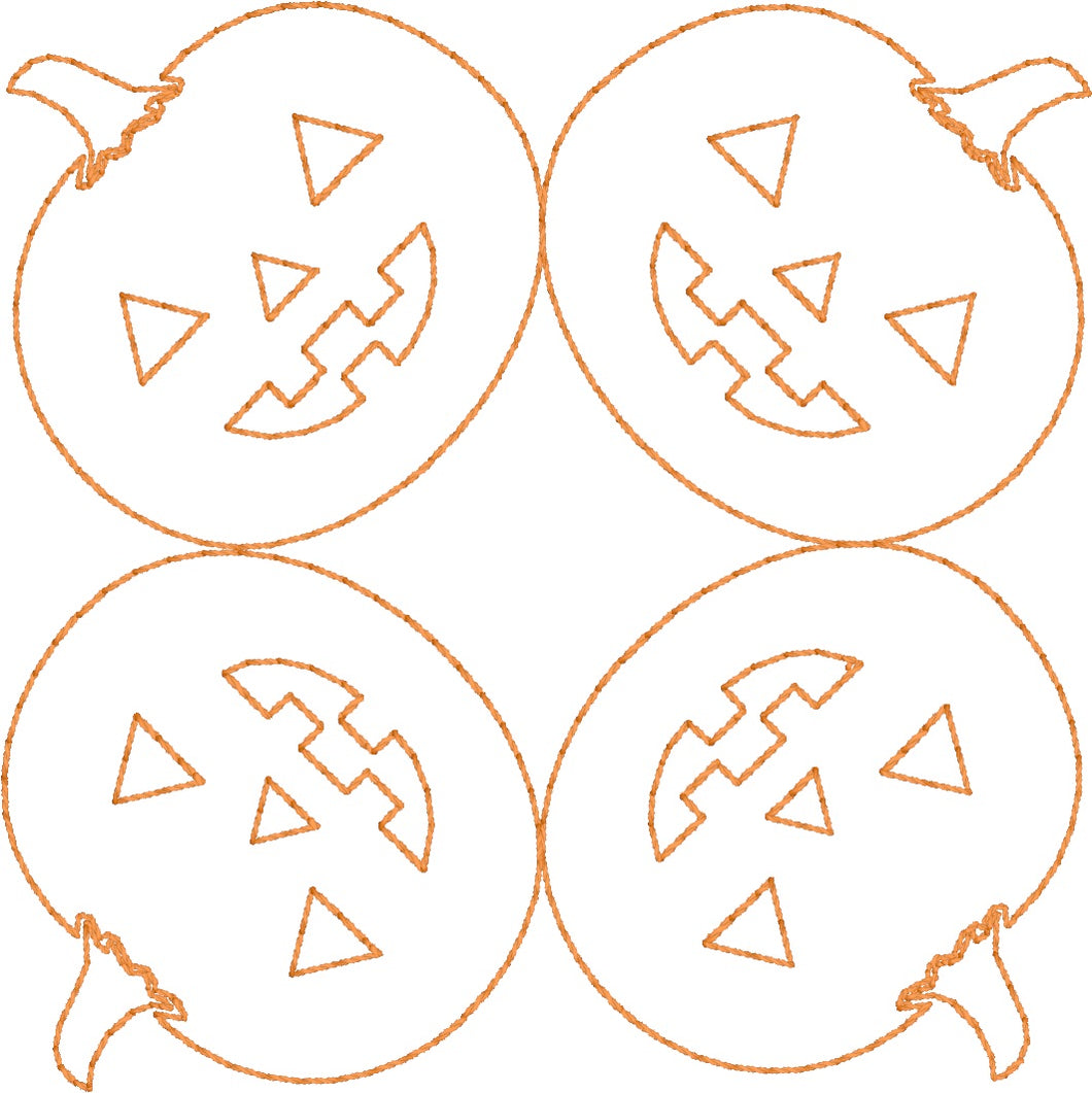 Jack O Lanterns - Machine Embroidery Quilting Design - 4x4 Hoop