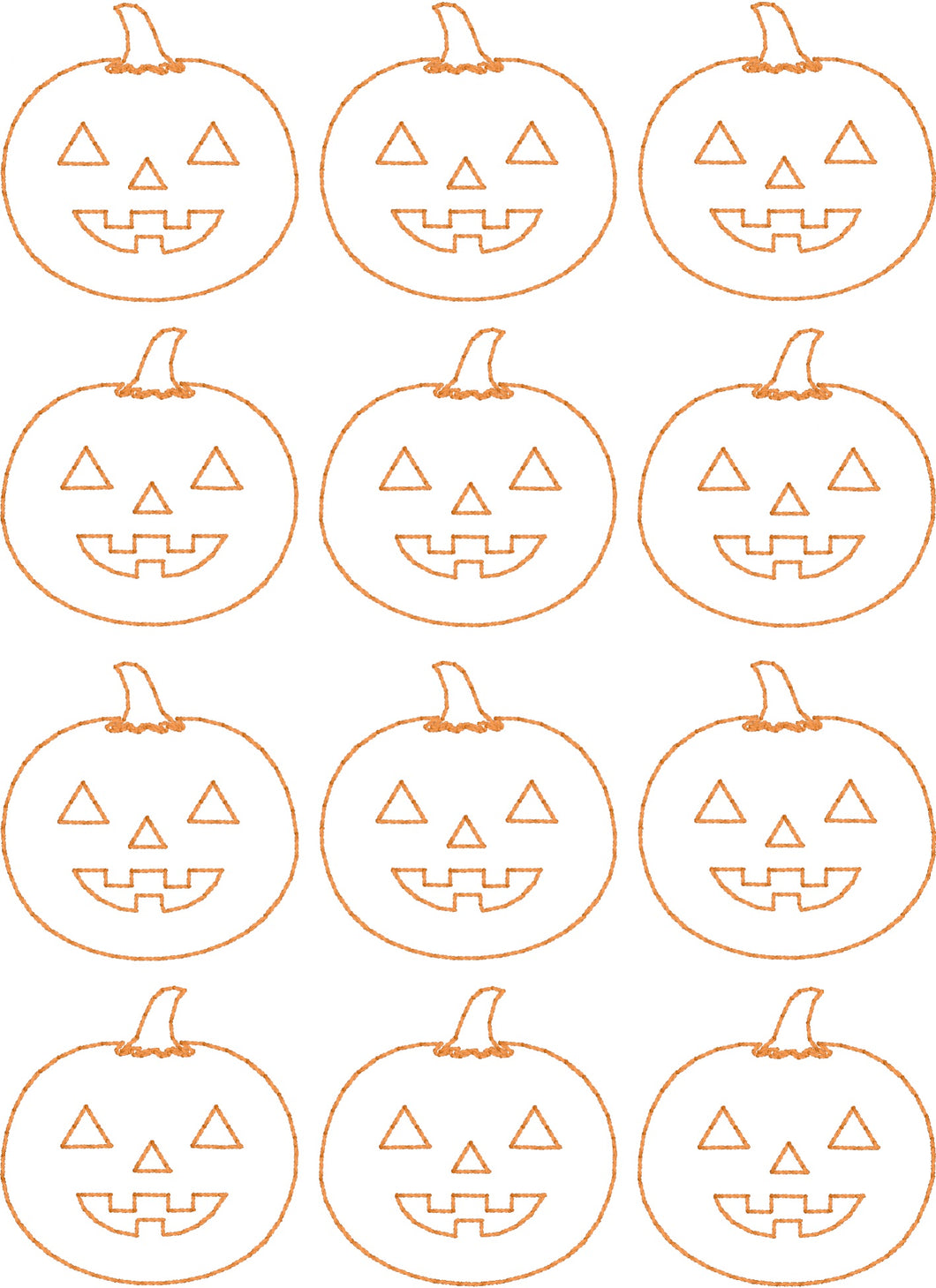 Jack O Lanterns Allover - Machine Embroidery Quilting Design - 5x7 Hoop