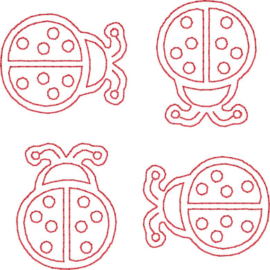Lady Bugs - Machine Embroidery Quilting Design - 4x4 Hoop - Beachside Knits N Quilts