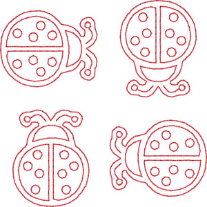 Lady Bugs - Machine Embroidery Quilting Design - 4x4 Hoop