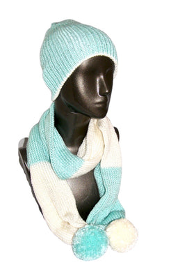 Mint Winter White Color Block Pom Pom Scarf Hat Knitted | Beachside Knits N Quilts