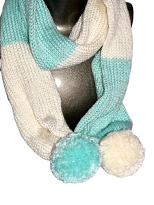 Mint Winter White Color Block Pom Pom Scarf Hat Knitted - Beachside Knits N Quilts