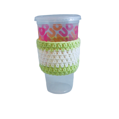 Green White Crochet Hot or Iced Coffee Cozy - Iced Drink Sleeve - 100% Cotton - Beachside Knits N Quilts