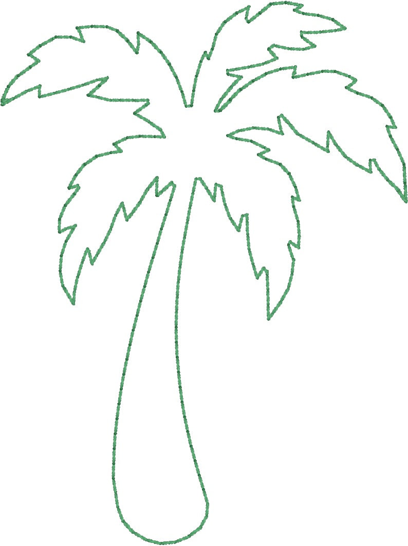Palm Tree - Machine Embroidery Quilting Design - 4x4 Hoop - Beachside Knits N Quilts
