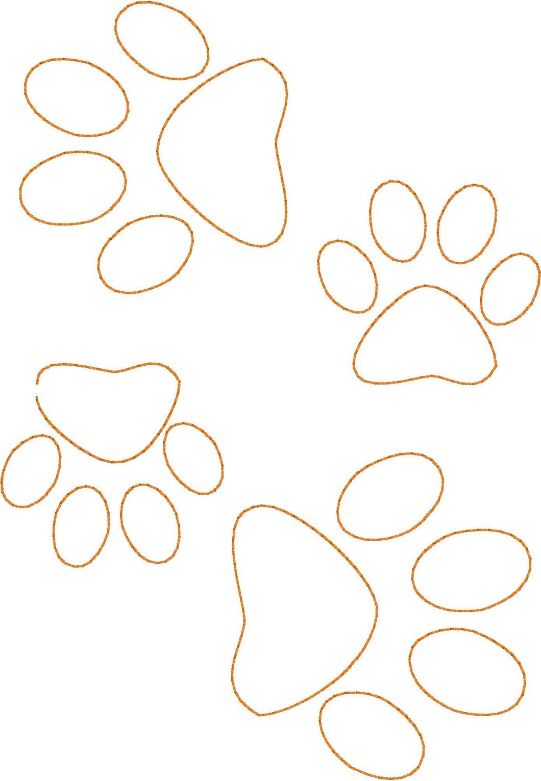 Paw Prints Allover - Machine Embroidery Quilting Design - 5x7 Hoop - Beachside Knits N Quilts