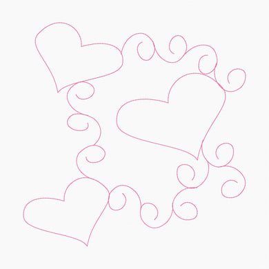 Swirling Hearts - Machine Embroidery Quilting Design - 8x8 - Beachside Knits N Quilts