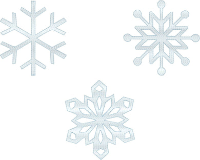 Snowflake Stripes Set of 3 - Machine Embroidery Quilting Design - 4x4 Hoop