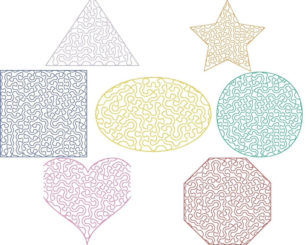 Shapes Stipple Set of 7 - Machine Embroidery Design - 4x4 Hoop