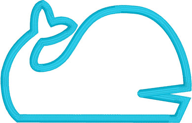 Whale Applique Embroidery Design - Instant Download 4x4 Hoop