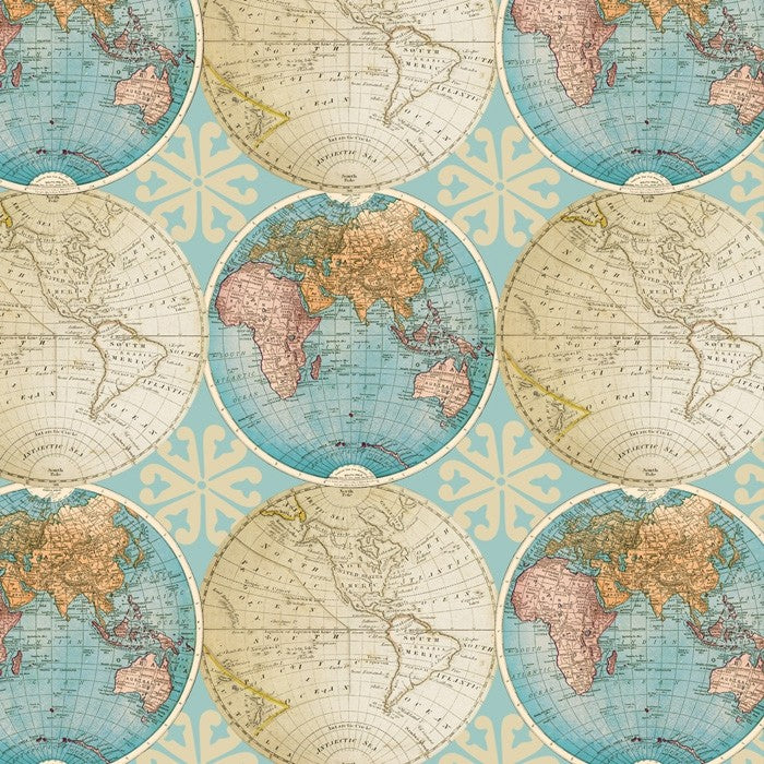 VINTAGE GLOBES - SEAFOAM 1 YD COTTON CUT - Beachside Knits N Quilts