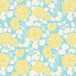 Cotton Fabric - Rose Garden Light Teal | Beachside Knits N Quilts