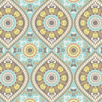 Cotton Fabric - Ethnic Folk Light Teal | Beachside Knits N Quilts