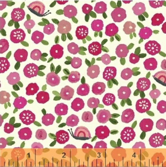 BFFs Pink Floral - Organic Cotton Fabric