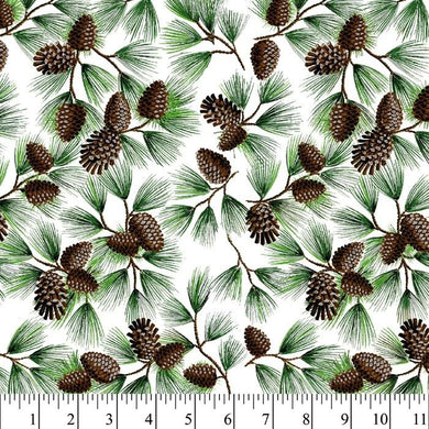 Cotton Fabric - Pine Cone with Glitter - Beachside Knits N Quilts