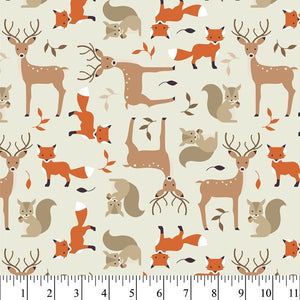 Tame Critters - Cream - Cotton Flannel Fabric