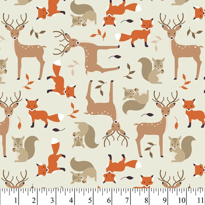 Tame Critters - Cream - Cotton Flannel Fabric - Beachside Knits N Quilts