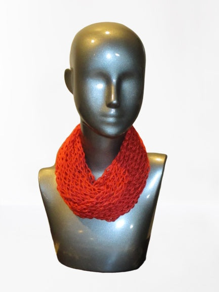Lacy Open Knit Infinity Scarf - Paprika | Beachside Knits N Quilts