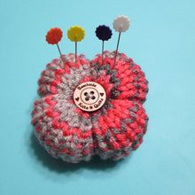 Load image into Gallery viewer, Flower Petal Pin Cushion - Pink Gray | Beachside Knits N Quilts