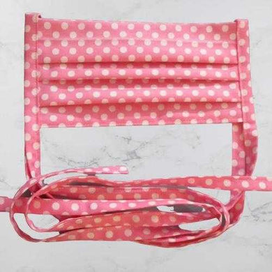 Pleated Face Mask with Ties - Pink Polka Dot | Beachside Knits N Quilts