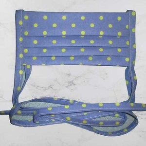 Pleated Face Mask with Ties - Blue Green Polka Dot Child Size | Beachside Knits N Quilts
