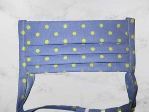 Pleated Face Mask with Ties - Blue Green Polka Dot | Beachside Knits N Quilts