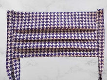 Load image into Gallery viewer, Pleated Face Mask with Ties - Purple Houndstooth | Beachside Knits N Quilts