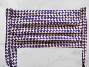 Pleated Face Mask with Ties - Purple Houndstooth | Beachside Knits N Quilts