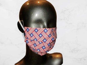 Pleated Face Mask with Elastic - Americana Patriotic Stars Light Blue