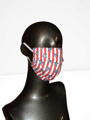Pleated Face Mask with Elastic - Americana Patriotic Stripes