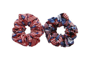 Jumbo Hair Scrunchies - Americana - Patriotic - Set of 2 Scrunchies - Beachside Knits N Quilts
