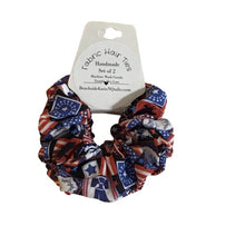 Load image into Gallery viewer, Jumbo Hair Scrunchies - Americana - Patriotic - Set of 2 Scrunchies - Beachside Knits N Quilts