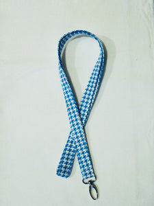 Happy Houndstooth Seamless Cotton Lanyard - Turquoise Blue - Beachside Knits N Quilts