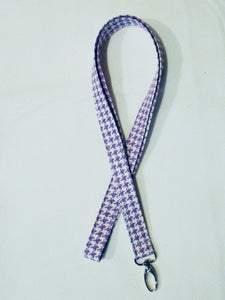 Happy Houndstooth Seamless Cotton Lanyard - Lilac - Beachside Knits N Quilts